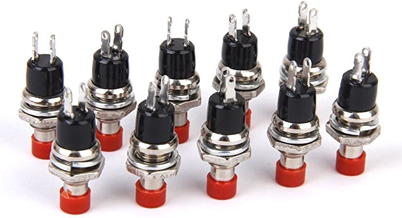 Lot de 10 Mini Interrupteur /à Bouton-poussoir Momentan/é Vert