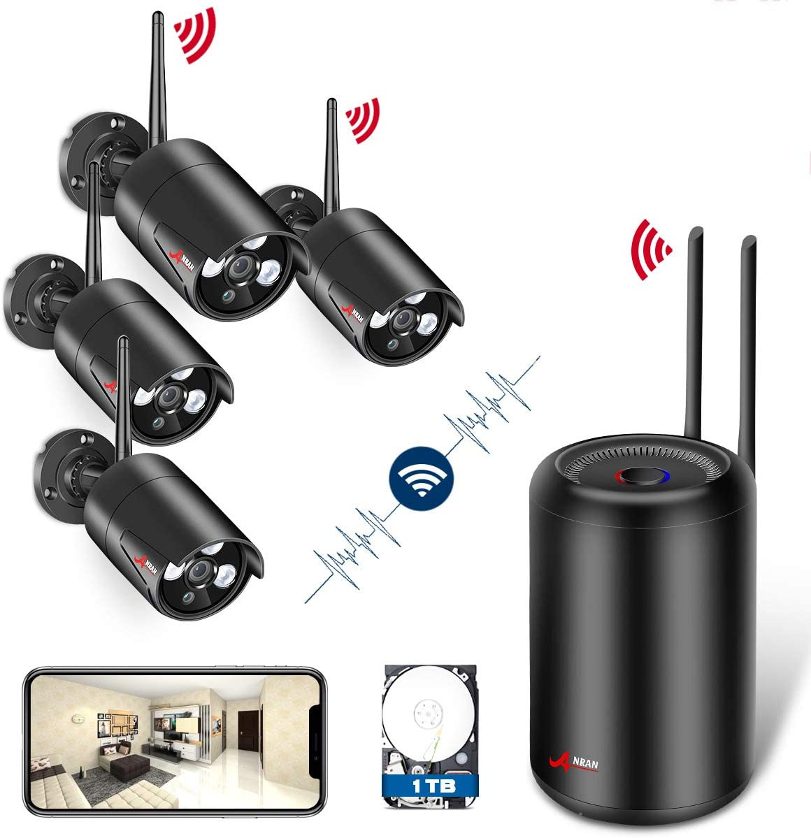 Wireless Security Camera System HD 1080p Video Security System with 4pcs WiFi Security Cameras,Night Vision Indoor Outdoor Home Surveillance System ANRAN WiFi NVR Kits with 1TB HDD