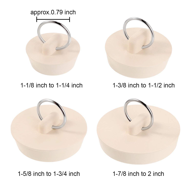 Rmeet Bouchon de Vidange,Bouchon De Baignoire en Caoutchouc 4 Pack Plug Stopper Set pour Evier Baignoire Cuisine Salle de Bains 4 Tailles Beige
