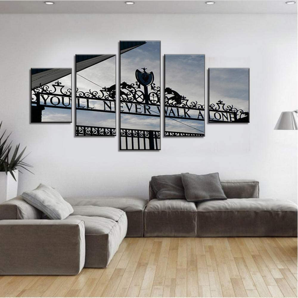 You will Never Walk Alone Liverpool 5 Piece Canvas Print Poster Wall Art Decor