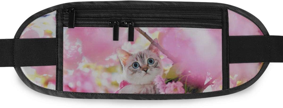 Travel Waist Pack,travel Pocket With Adjustable Belt Portrait Blue Eyed Cat Sakura Tree Running Lumbar Pack For Travel Outdoor Sports Walking