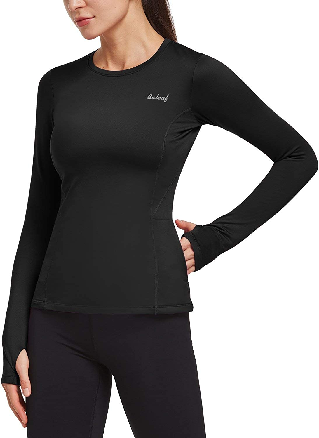 Women/'s Thermal Compression Base Layer 1//4 Zipper Mock Neck Fitness Jogging Top