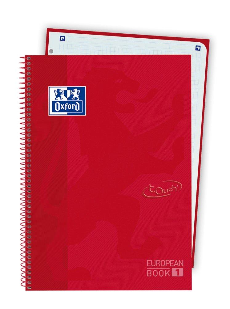 A4 Oxford Touch color rojo carm/ín Bloc tapa extradura cuadr/ícula 5x5
