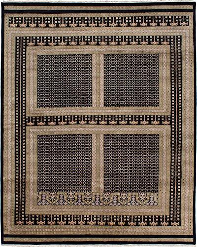 eCarpet Gallery Large Area Rug for Living Room, Bedroom | Hand-Knotted Wool Rug | Peshawar Bokhara Traditional Black Rug 9