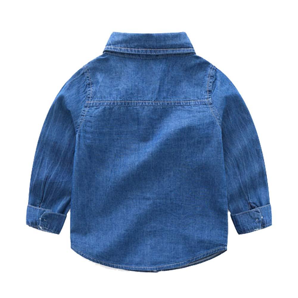 Motteecity Boys Clothes Denim Long Sleeves Button Down Shirt