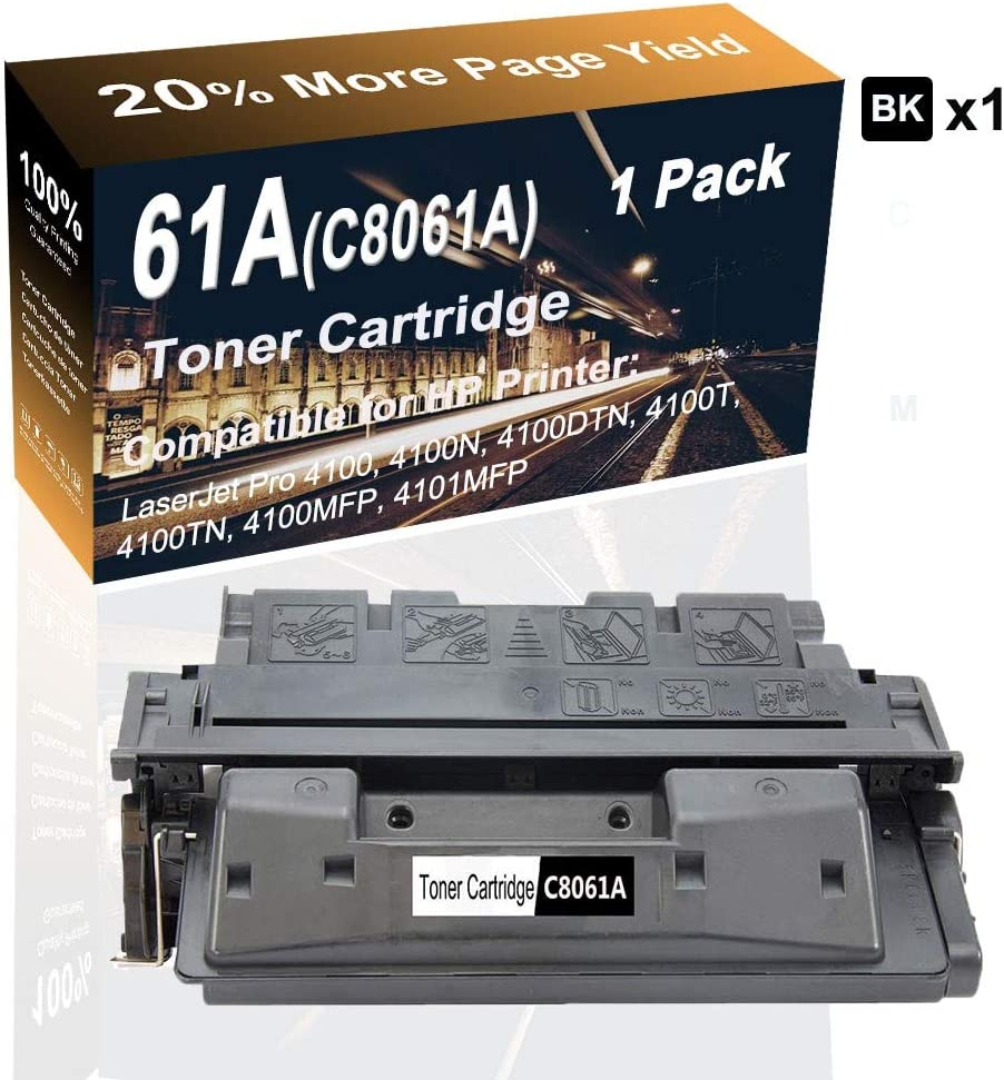 1-Pack Printer Cartridge use for HP Laserjet Pro 4100 4100N 4100DTN Printer Compatible High Capacity 61A Black C8061A