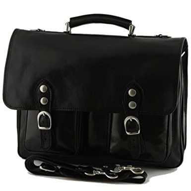 d8e540358a45 Alberto Bellucci Mens Italian Leather Parma Express Messenger Laptop  Satchel Bag in Black