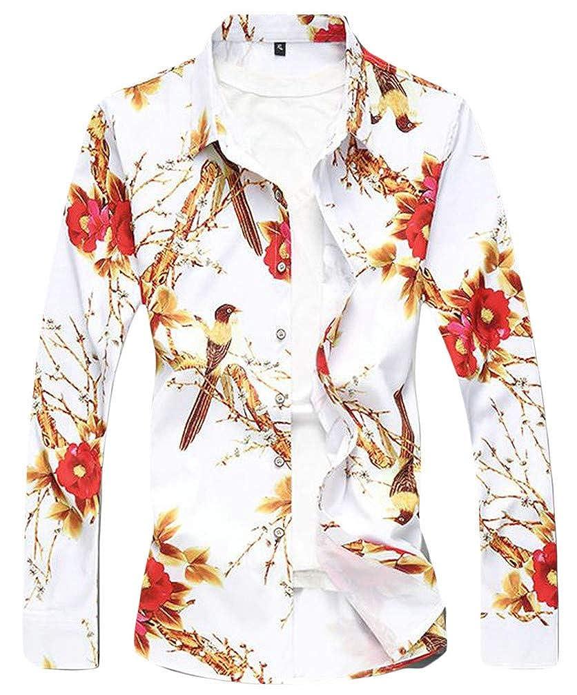 Etecredpow Men Comfortably Plus Size Lapel Neck Floral Print Long Sleeve Button Down Shirts