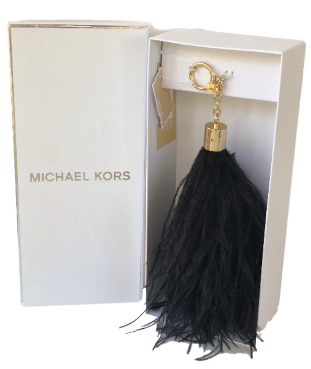 MICHAEL Michael Kors XLARGE FEATHER POM POM Keychain (BLACK) by Michael Michael Kors