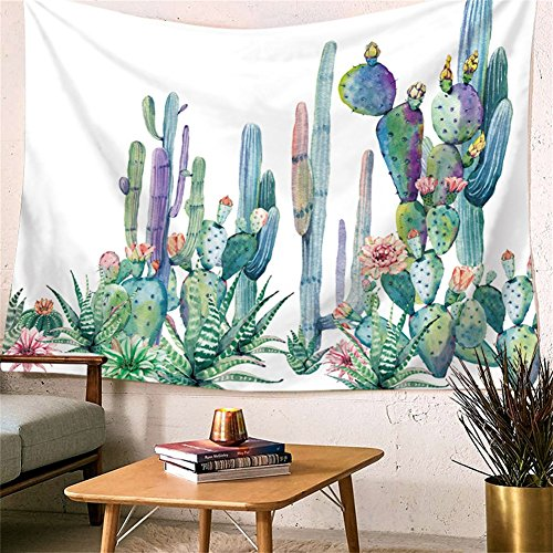 Desert Cactus Table (Desert Cactus Art Tapestry Landscape Wall Hangings Echinopsis Tubiflora Watercolor Printed - large Tablecloths Wall Backdrop Hippie Bedspread Tapestry 59x52 inches HYC05-US)