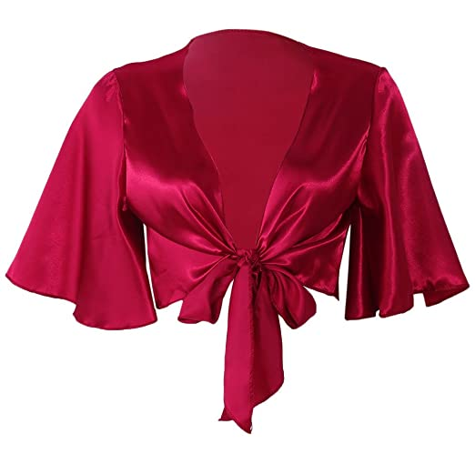 ba30abee8f5f0b Amazon.com: Susada Women's Deep V Neck Crop Top Satin Tie Knot Front ...
