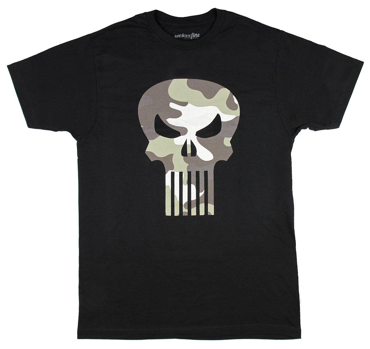 The Punisher Camo Logo Black T-shirt (Adult XX-Large)