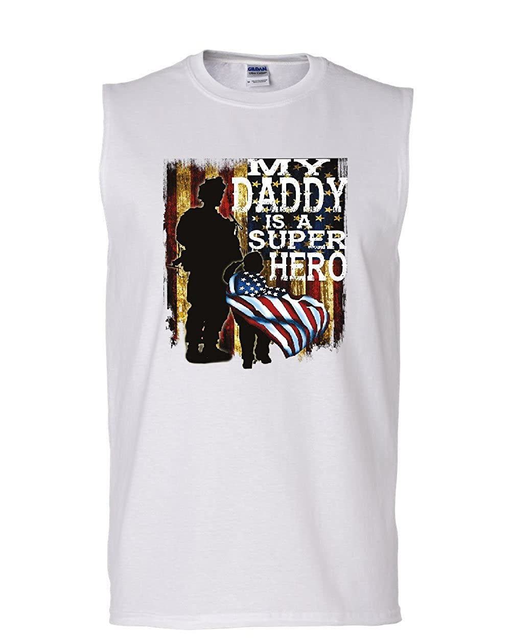 Tee Hunt My Daddy is a Super Hero Muscle Shirt Fathers Day Military Army Navy Sleeveless