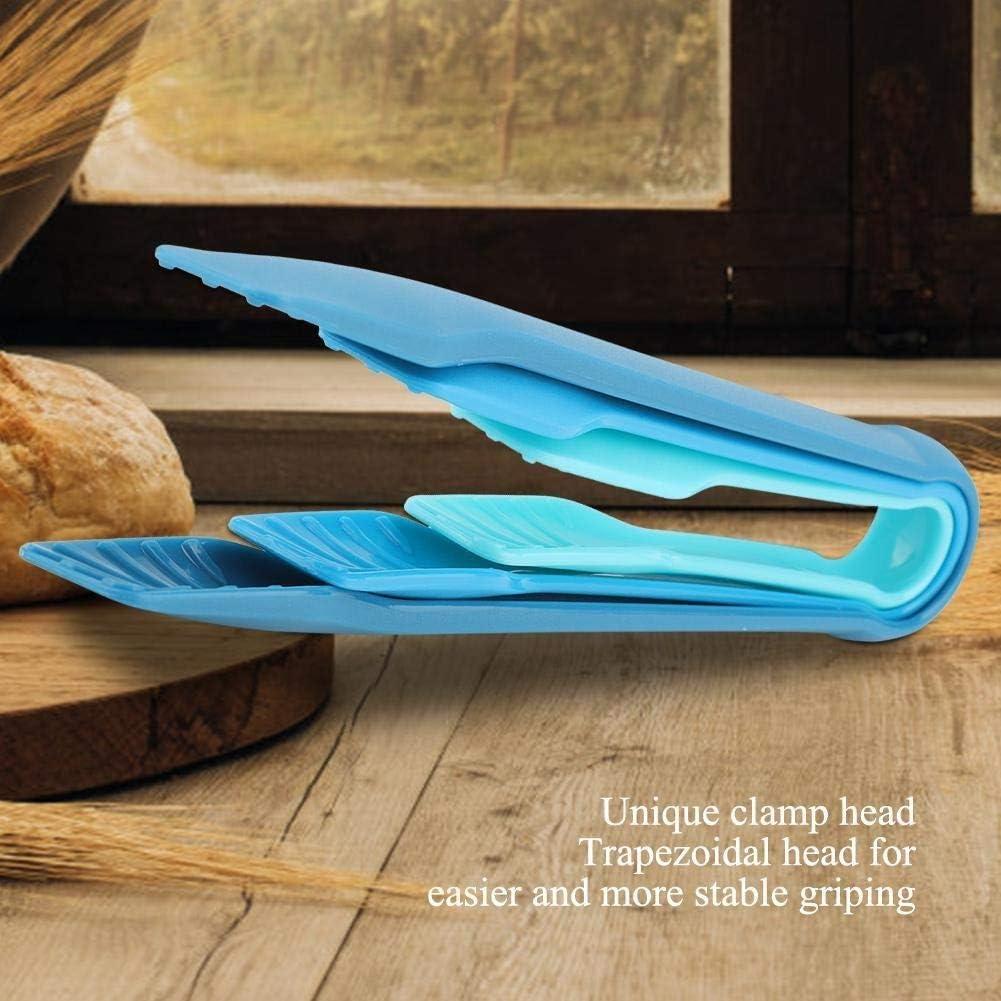 Regun Lebensmittel Tongs, Multifunktionale Kunststoff-Brot-Zangen Lebensmittel Schellen for Privatanwender Bäckerei (3 PCS/Pack) (Farbe : Blau) Blau