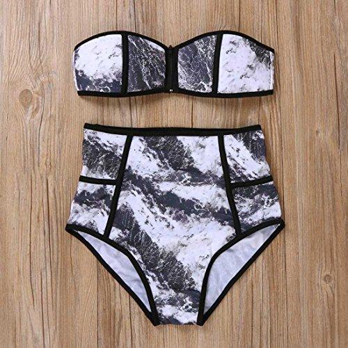 Tefamore Traje de baño rellenado de la natación de verano impresión del bikiní de las mujeres atractivas que baña el traje de baño del traje de baño Nero