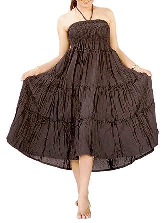cfc3f7071 Siam Secrets Women's Ruffle Long Skirt Gypsy Summer Dress 100% Rayon Brown