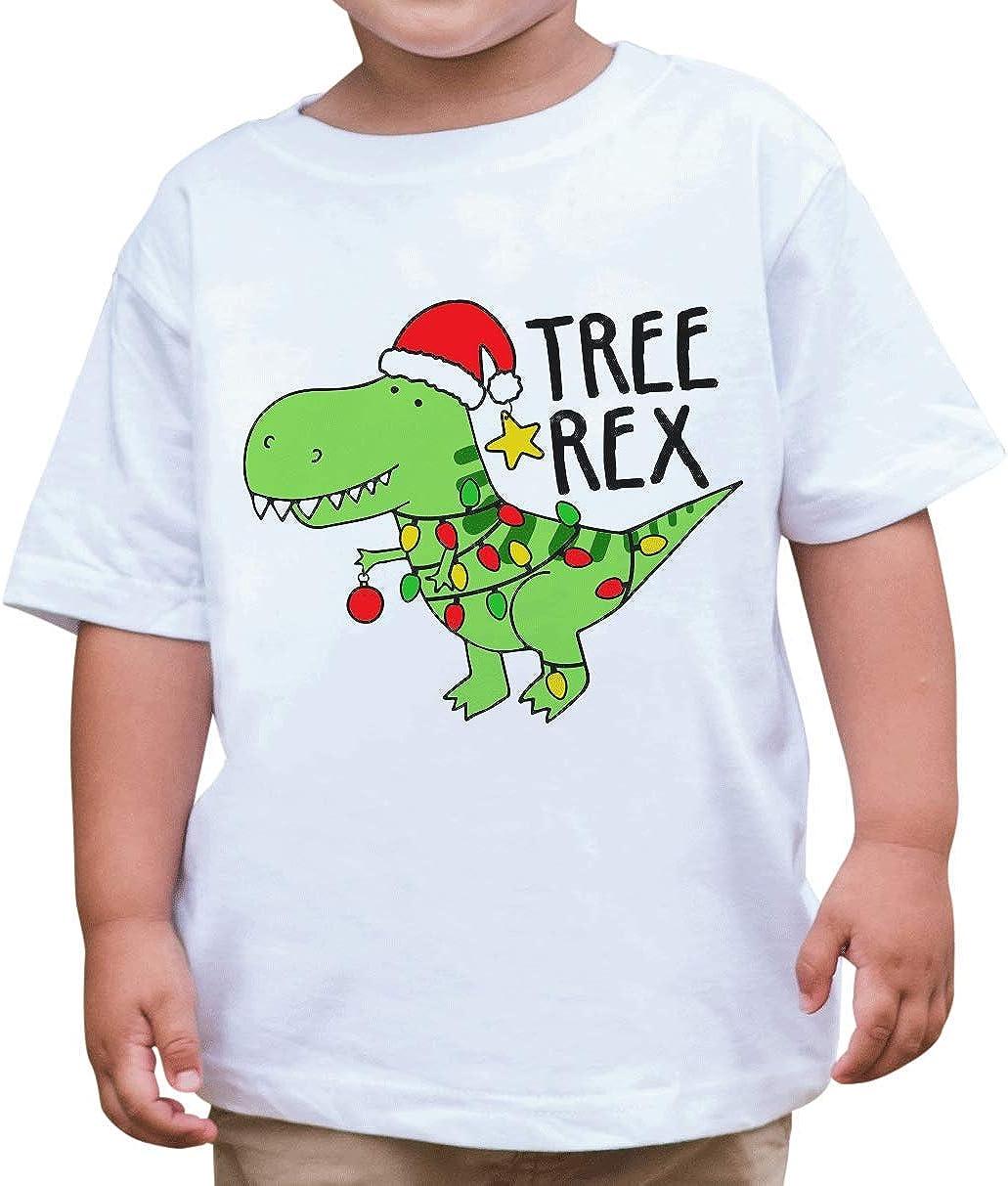 7 ate 9 Apparel Kids Treerex Dinosaur Christmas T-Shirt