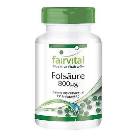 Ácido fólico 800mcg comprimidos - Vitamina B9 hidrosoluble - fundamental antes y después del embarazo - concepción - ¡Calidad Alemana garantizada!