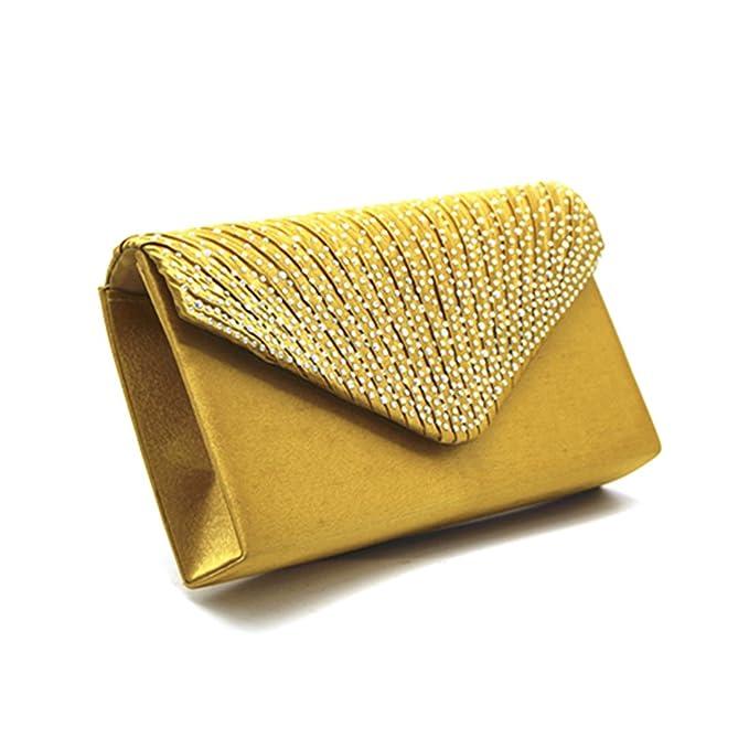 UNYU Envelope Shiny Clutch Bag - Cartera de mano para mujer Dorado dorado Talla única: Amazon.es: Ropa y accesorios
