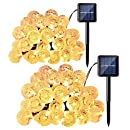 Qedertek 2 Pack Globe Solar String Lights, 20ft 30 LED Crystal Ball Outdoor String Lights for Home, Patio, Lawn, Garden, Gazebo, Party and Holiday Decorations(Warm White)
