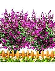 Msrlassn 6 paket konstgjorda lavendelblommor utomhus falska blommor för dekoration UV-resistenta bleknar inte falska plastväxter trädgård veranda fönsterlåda inredning (Fuchsia)