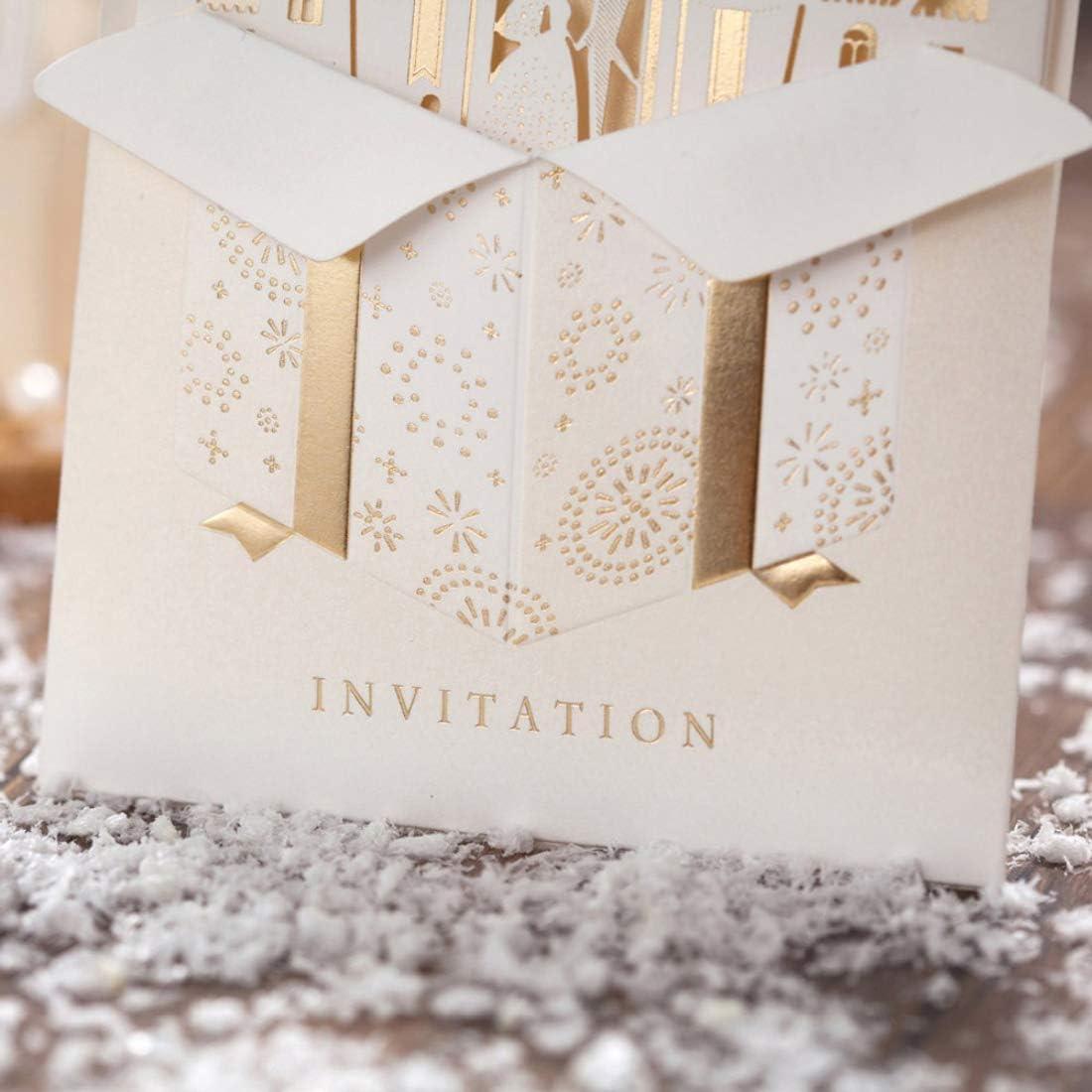 WISHMADE Einladungskarten Hochzeit 50 St/ück Laserschnitt Feenhaftes Gold 3D das Braut und Br/äutigam in den Schloss-Einladungen f/ür Verlobungs-Brautparty-Jahrestags-Ehe Herr Mrs Invites vergoldet