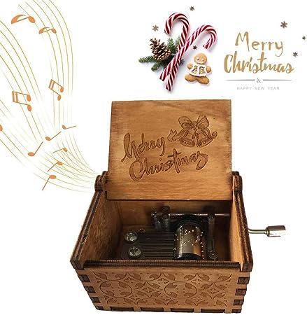 FOONEE Caja de música con manivela de Mano, Caja de música de Madera Tallada Antigua, Caja de música con manivela, Caja Musical para niños, Amigos, Pareja, niños, niñas: Amazon.es: Hogar
