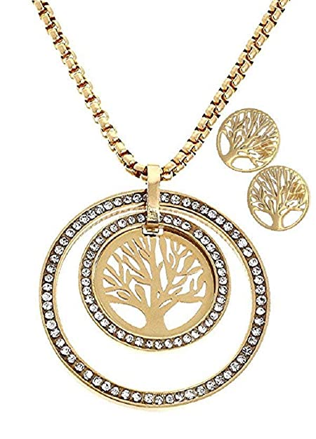Real Juego de joyas acero inoxidable cadena colgante y joyas ...