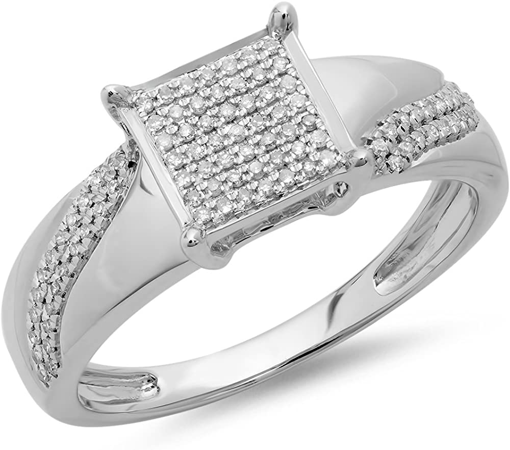 Dazzlingrock Collection 0.20 Carat (ctw) Round Diamond Ladies Bridal Square Frame Micro Pave Promise Ring 1/5 CT, Sterling Silver