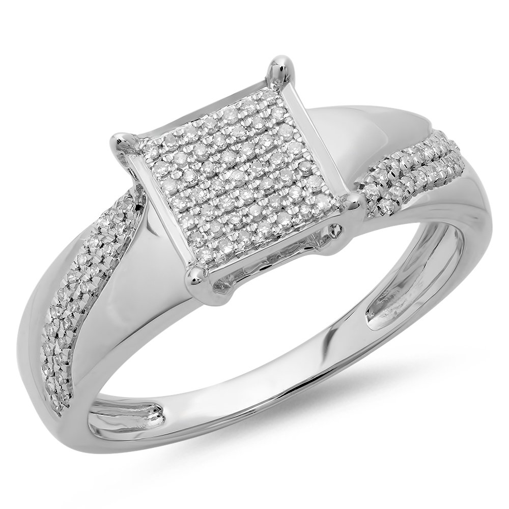 0.20 Carat (ctw) Sterling Silver Round Diamond Ladies Bridal Square Frame Promise Ring 1/5 CT (Size 8.5)