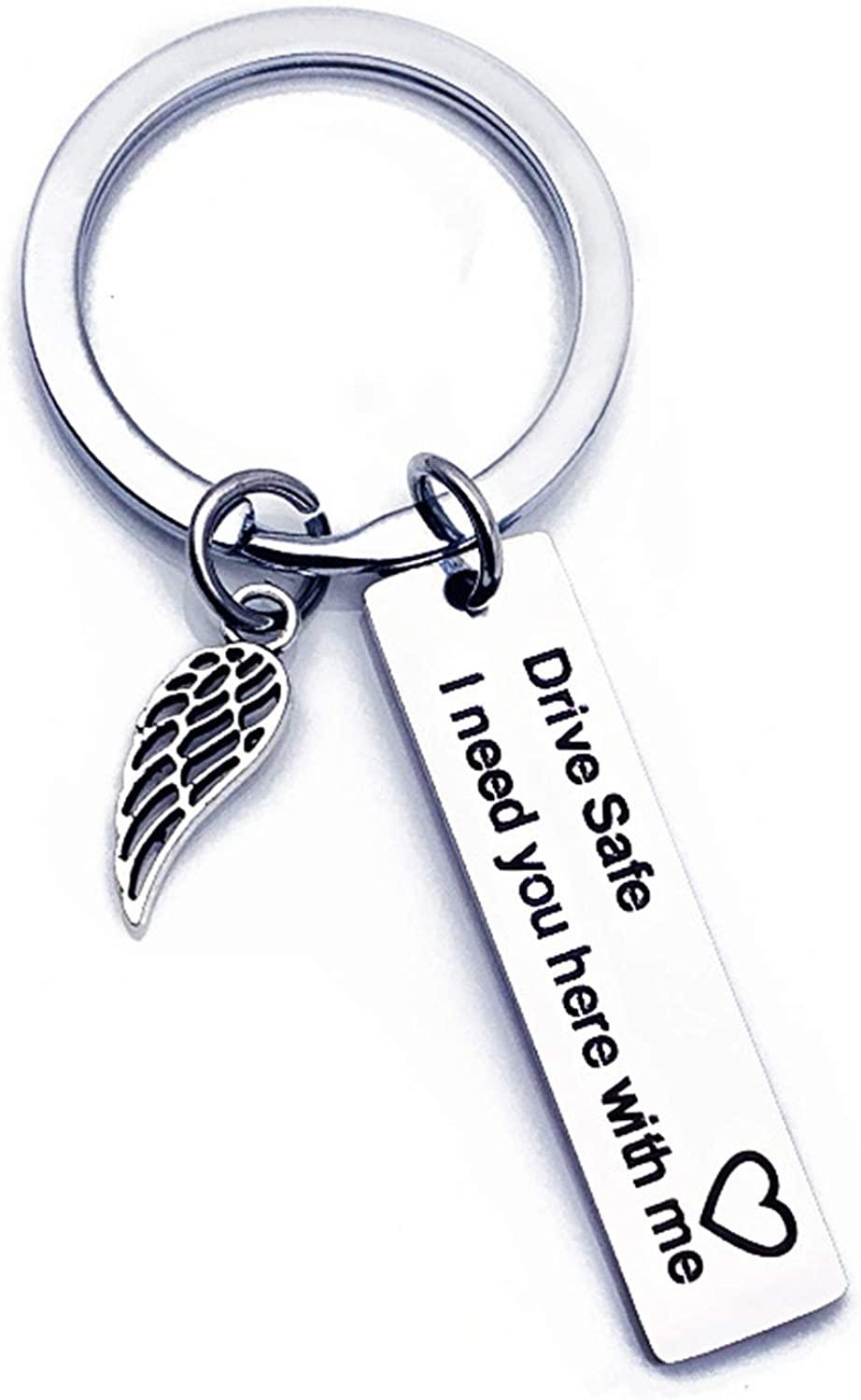 Abellale Letter Drive Safe I Need You Here With Me Dog Tag Stainless Steel Keyring Women S Key Ring Silver Stainless Steel Schmuck