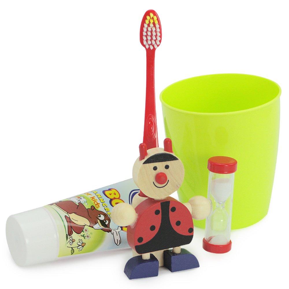 coccinella com-four/® Porta spazzolinoCoccinella in legno con clessidra 8 x 8 cm
