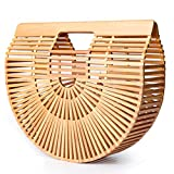 Voudi Bamboo Handbags for Women Handmade Tote Bamboo Purse Summer Beach Bag (Small, Wooden Beads)