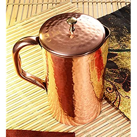 ECraftIndia Hammered Copper Jug Pitcher For Regular Use Of Drinking Water Yoga Health Benefits 1300 ML
