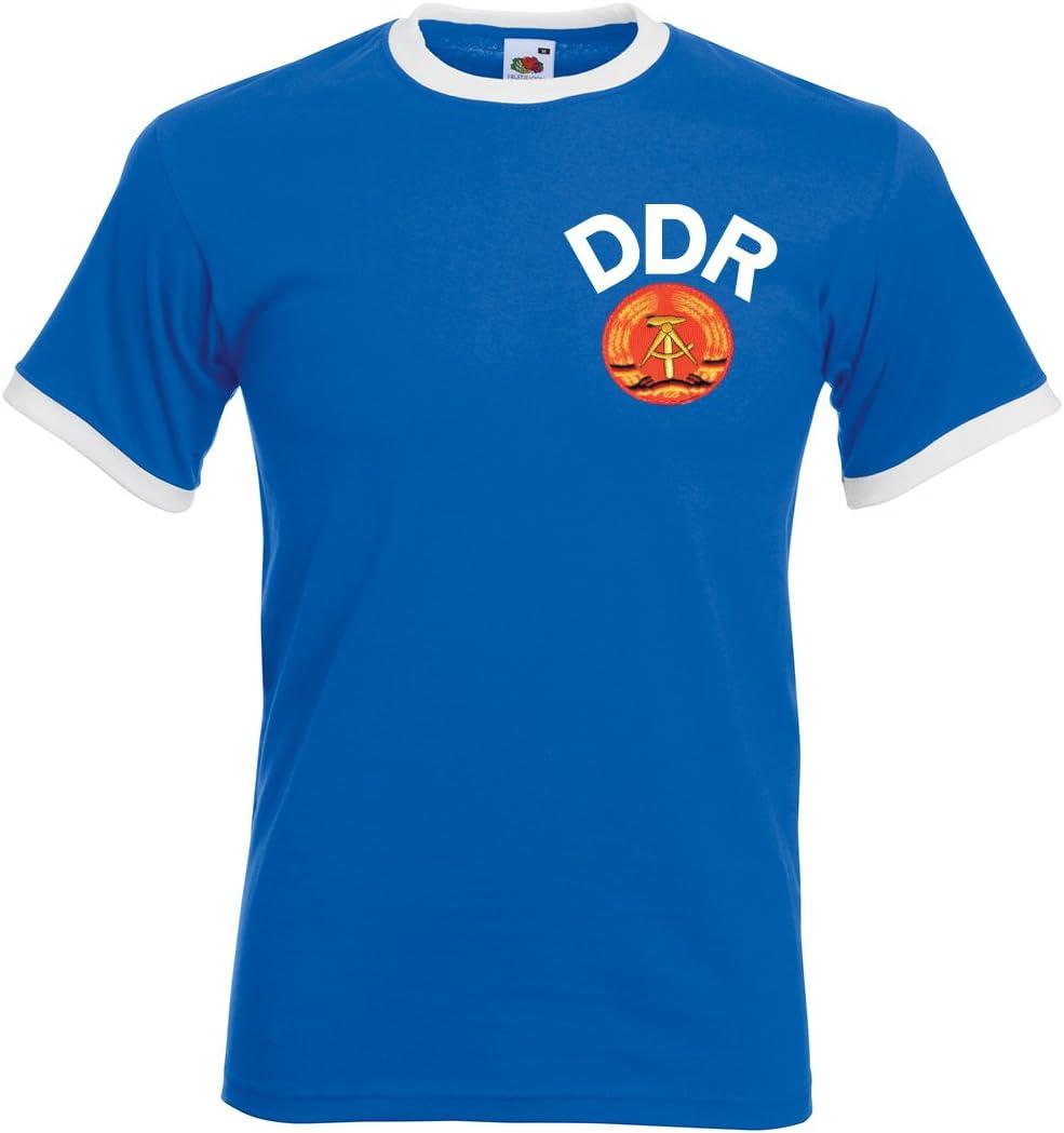 Print Me A Shirt Camiseta de fútbol para Hombre Retro DDR East Germany, Royal Blue/White en Personalizar: Amazon.es: Deportes y aire libre