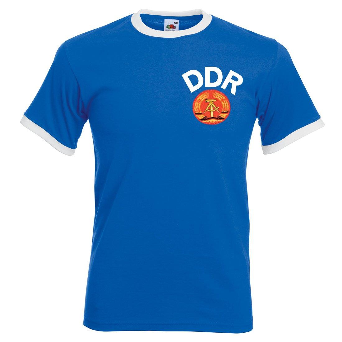 Camiseta de fúbtol para hombre, estilo retro, de la DDR (Alemania del este) multicolor Royal Blue and White Small: Amazon.es: Ropa y accesorios