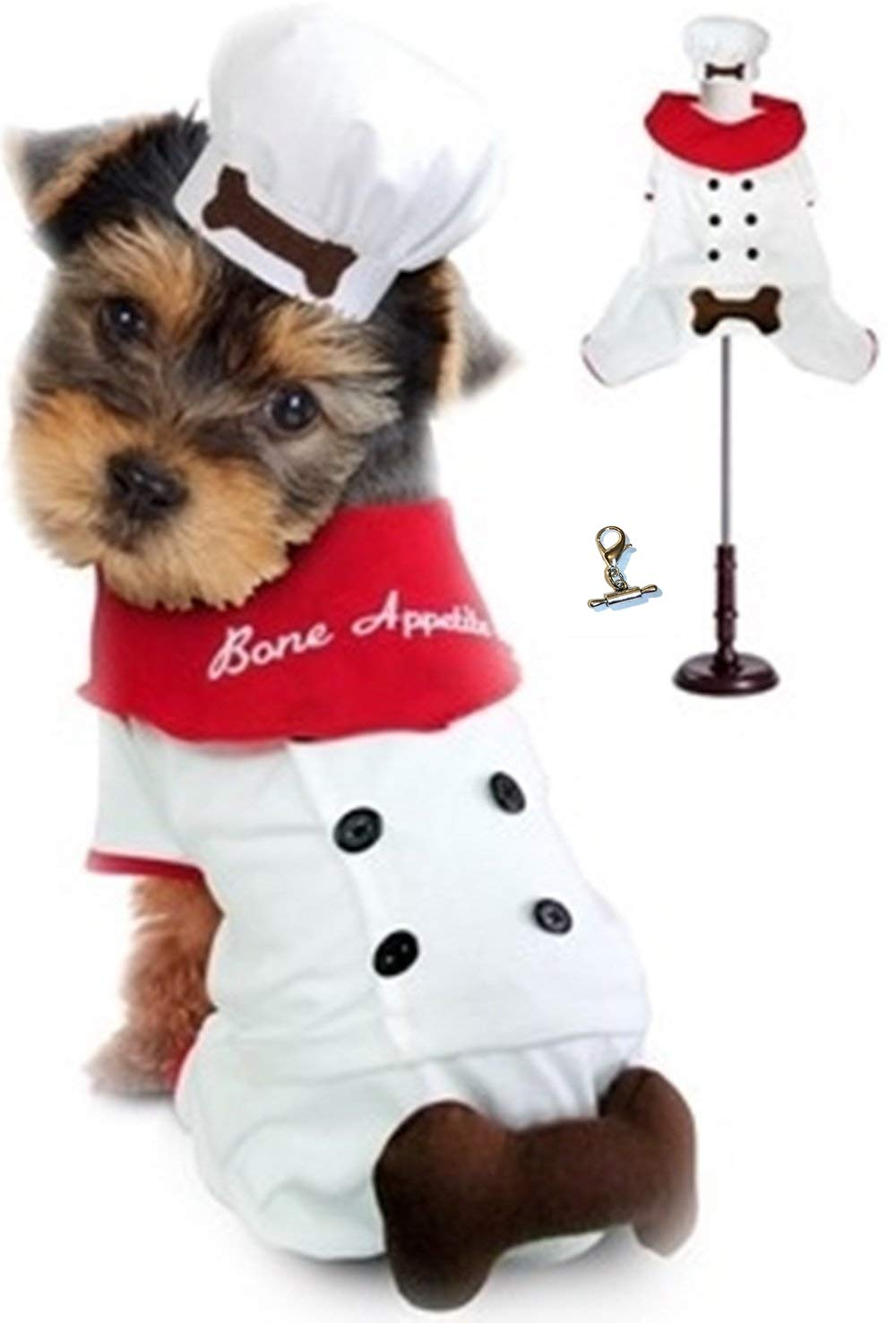 Puppe Love Bone Appetite Chef Styled Uniform Costume with Themed Accessory Charm - Available in Dog Sizes XS Thru L  (S - Chest 12-14''. Neck 9'', White)