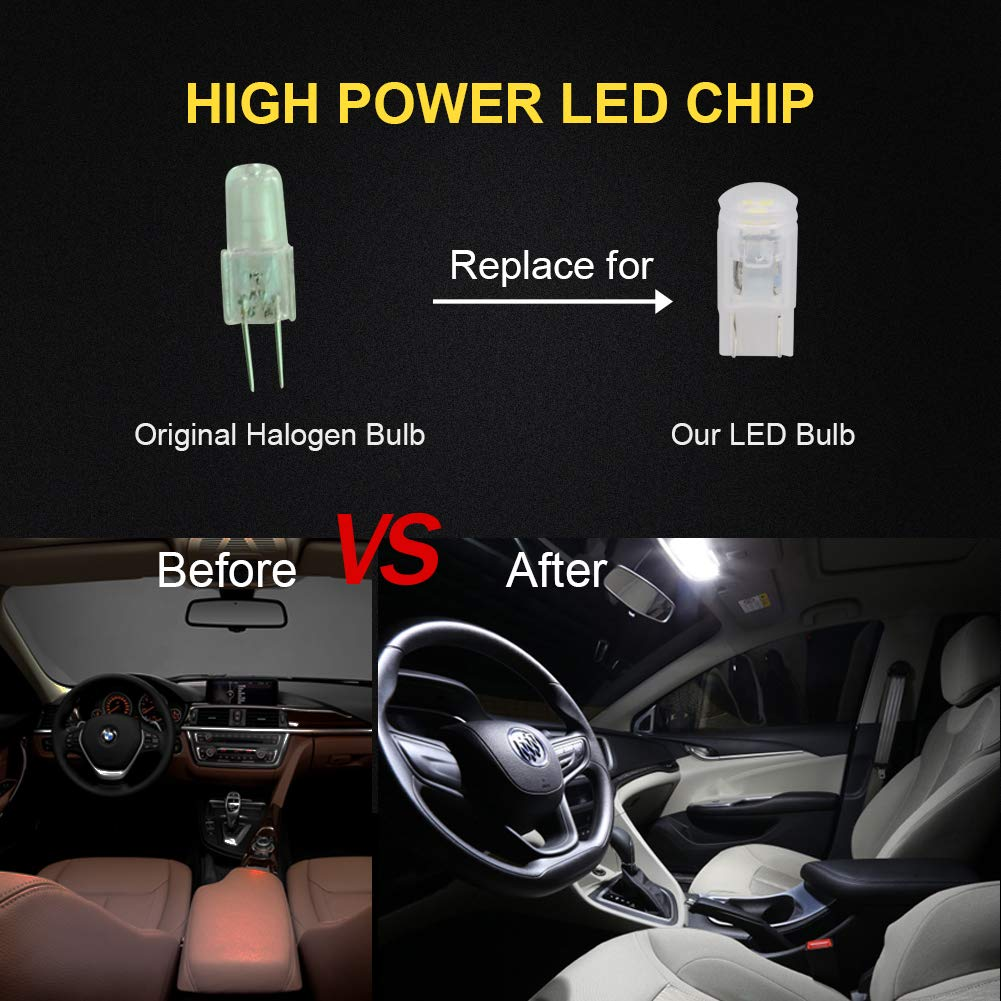 LncBoc T10 W5W Bombillas LED cuña 3-SMD 2835 LED 501 194 168 interior coche exterior cúpula matrícula luz de repuesto Bombillas blanco 12v Pack de 2