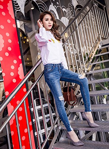 Outdoor Charme Di Sollevamento Skinny Dimagranti Butt Blu4 Estate Strappati Stretch Jeans Signore Pantaloni Dexinx Elegante w01qRnU