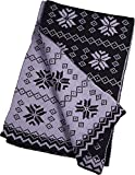 Winter Warm-Up - Ladies Reversible Snowflake Scarf, Black, Lavender 33761-onesize