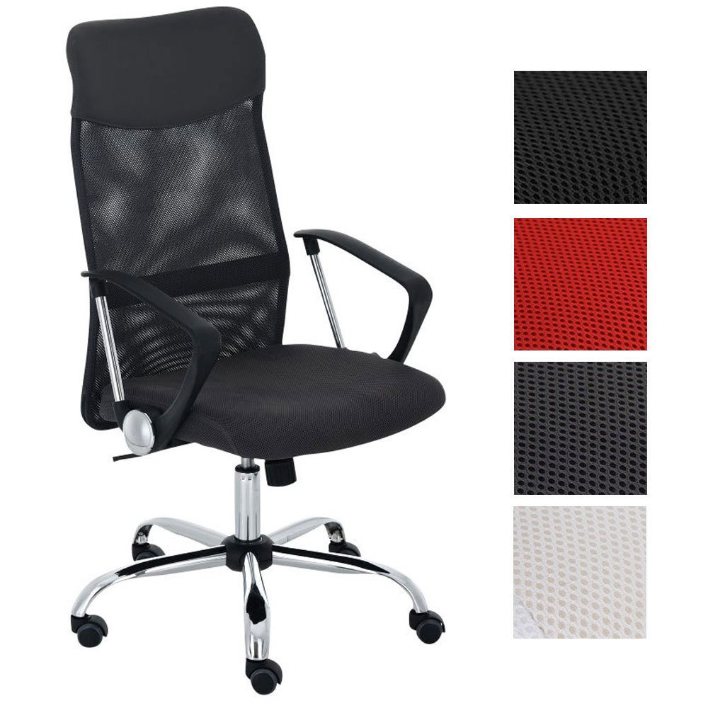 CLP Silla de Oficina Washington Regulable en Altura I Silla de Ordenador Tapizado en Cuero Sintético y Respaldo en Red I Color: Negro