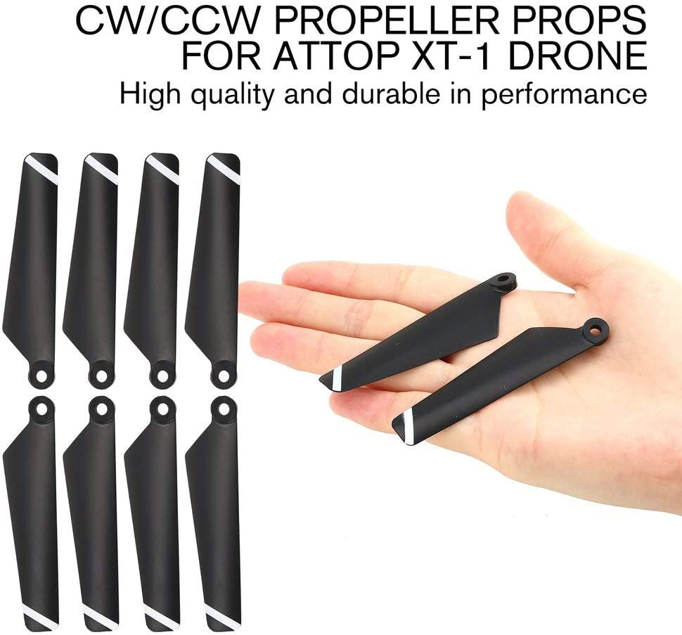 Leoboone 4 Paires dh/élices CW CCW H/élices pour h/élices Attop XT-1 Drone RC Quadcopter H/élicopt/ère Avions UAV Pi/èces Accessoires