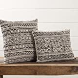 Piper Classics Graphic Gray Throw Pillow with Filler, 18'' x 18'', Boho Chic Tribal Modern Farmhouse Style Printed Textured Cotton