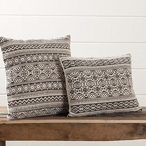 Piper Classics Graphic Gray Throw Pillow with Filler, 18