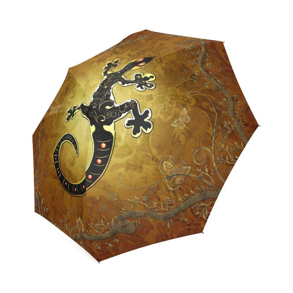 29a54774b12c Artsadd Fashion Umbrella Gecko In Gold And Black Foldable Sun Rain ...