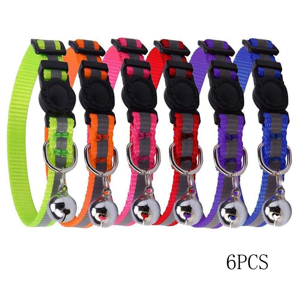 Euone  Cat Collars, 6PCS Reflective Adjustable Cat Collars Safety Quick Release with Bell