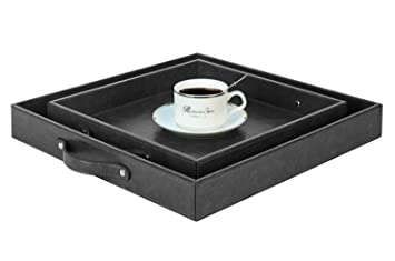 471f705880 PU Leather Square Butler Serving Tray, Coffee Tray with Handles, Dark Grey,  Set of 2, S: 12 x 12 x 1.77 inches, L: 15 x 15 x 1.97 inches