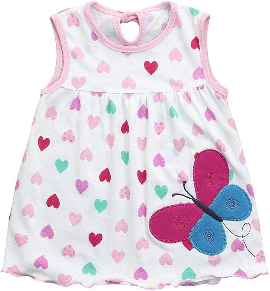 Baohooya V/êTements Robe Bebe Fille 0-24 Mois Ete Naissance Enfant Chic Mode Ceremonie Bapteme Imprim/é /à Pois sans Manches
