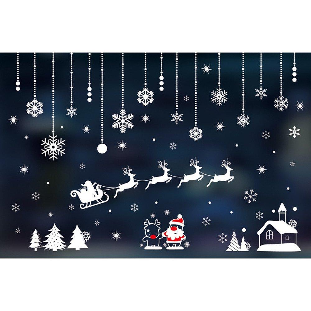 XINDEEK Merry Christmas Wall Sticker Mural Removable Decal Household Room Window Decor, Elk/Snowmen/Santa Claus/Snowflake(B)