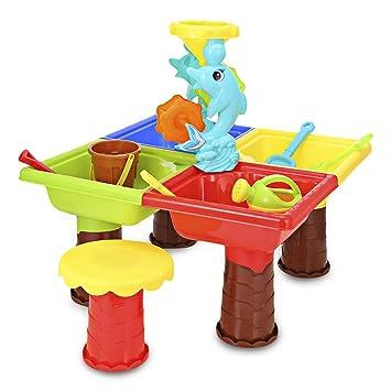 VOSTOR Juguetes de Playa Juegos de Arena y Agua para niños Mesa de ...